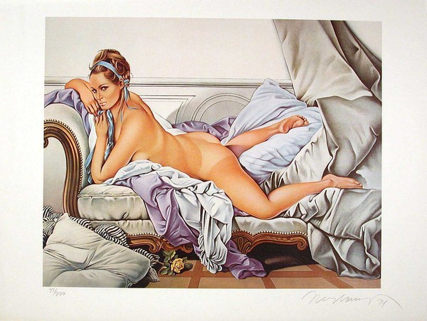 Touché Boucher (1972-73) is an oil on canvas by Mel Ramos, is a pastiche of the Odalisque blonde by François Boucher.