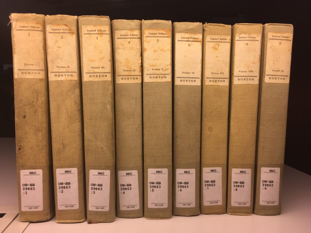 "Nine of the ten volumes of Burton's ""One Thousand and One Nights"""
